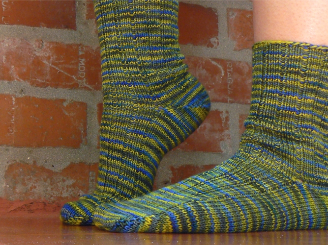 Wollmeise Wellensittichvogel - greenish ribbed socks