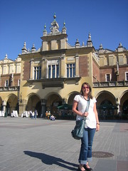 Sheri on Krakow's Market Square