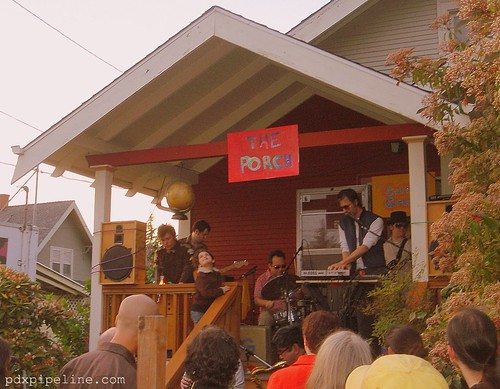 The Golden Greats playing in front of Rob Weston's recording studio, The Porch