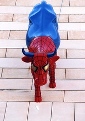 Spider Cow...another View... (poly_mnia) Tags: blue red urban streetart colour art cow colours cows angle angles athens urbanart greece fiberglass cowparade babel spidercow fiberglasspublicart athenscowparade makeonesday dearflickrfriend merhb dearflickfriend cowparadearoundtheworld syggrou