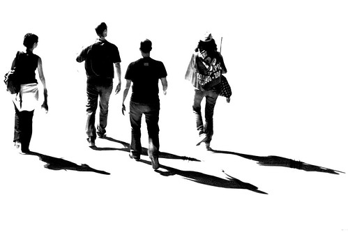 Four friends with their shadows - IMG_1807 BW ed + cr / Dimitris Papazimouris