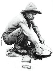 Prospector (ToOliver2) Tags: original blackandwhite art illustration ink wow gold mining panning miner prospector goldrush penandink crosshatch rapidograph crosshatching indiaink panningforgold interestingness81 i500 tonyoliver superbmasterpiece lcmcclure