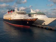 TWO SHIPS NOT PASSING IN THE NIGHT (Sassenach1) Tags: cruise vacation mexico ship ships disney cruiseship caribbean cozumel cozumelmexico caribbeansea enchantmentoftheseas royalcaribbeancruiselines disneycruiseship