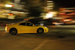 Ferrari F430 at night (j.hietter) Tags: car yellow night monterey ferrari whole pan panning f430 wholecar