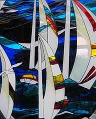 white sails in the sunset (axiepics) Tags: sea glass ships sails mosaics suncatcher panels sailboats suncatchers superhearts copyrightalexskellyallrightsreserved