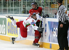 Missed hit (brianpoulsen) Tags: world canada calgary ice sports hockey sport nhl hit action russia moscow flames icehockey championships belarus missed calgaryflames 2007 deon phaneuf iihf worldchampionships top20sports bodycheck