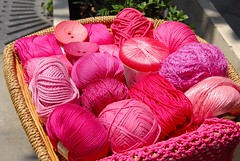 Summer knitting qualities (sifis) Tags: pink summer colour shop nikon knitting linen lace buttons crochet silk knit athens yarn greece cotton d200 handknitting yarnshop  sakalak