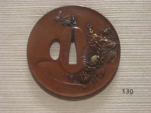 Tsuba with Design of Chrysanthemums and Butterflies