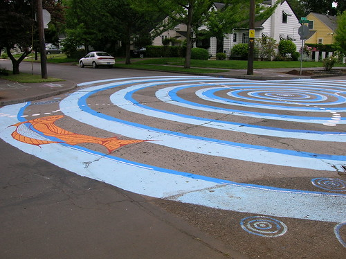 blue swirls in the intersection