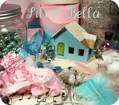 It's beginning to look a lot like Silver Bella!!! (holiday_jenny) Tags: christmas pink flowers house bird art floral glitter bells vintage silver design aqua aaron jenny craft class crepe omaha supplies goodies 2007 sneakpeek silverbella