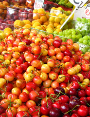 Fresh cherris (miss pupik) Tags: red green colors yellow cherry israel telaviv cherries market fresh catchycolor