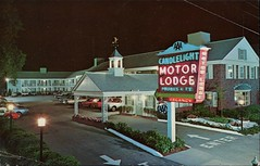 Candlelight Motor Lodge, Hyannis, Cape Cod, Mass. (SwellMap) Tags: postcard vintage retro pc chrome 50s 60s sixties fifties roadside midcentury populuxe atomicage nostalgia americana advertising coldwar suburbia consumer babyboomer kitsch spaceage design style googie architecture