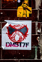 DM5T7F and friends (PDKImages) Tags: art street manchesterstreetgallery manchesterstreetart streetart contrasts couple love artinthecity ripartist faces abandoned girl bee bees manchester walls posterart stencilart heart hidden dmstff cityscape cityscene