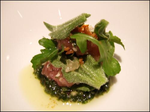 Manresa (Los Gatos) - Fatty Bluefin Belly & Tendon Salad, Seaweed Pesto