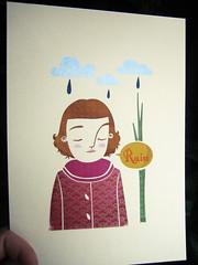 Rain (*Juliabe) Tags: girls texture colors girl rain forest ink print artwork gocco printing silkscreen min