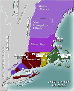 Map of early New England