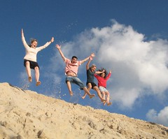airtime - jumping for joy (*vlad*) Tags: friends sky canon fun jump sand action dunes joy australia leap g7 supershot