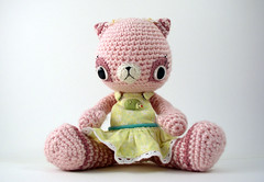 Dasha0 (ElisabethD) Tags: pink flower cute art animal cat toy stuffed doll dress handmade crochet kitty softie kawaii daisy jumper hedgehog amigurumi crocheted gourmetamigurumi eyelet stipes