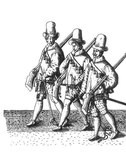 Musketeers with reversed guns and trailing their rests at the funeral of Sir Philip Sidney 1587