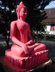 Pink Buddha (sarahlane) Tags: pink statue temple buddha buddhism laos wat luangprabang
