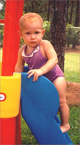 Abbey in Grandma Connie's backyard sometime before her second birthday