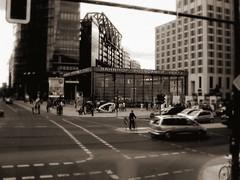 potsdamer platz (YvesSpeaks) Tags: street people berlin cars sepia buildings potsdamerplatz streetshot
