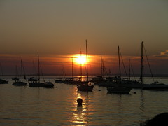 sunset over Yarmouth Harbour in the Isle of Wight (popinjaykev - living the Italian dream) Tags: sunset england sun south going down solent yachts isle cowes wight supershot pentaxk10d