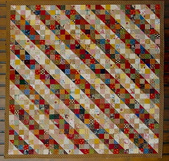 """Promenade de Dionysos"" (manu/manuela) Tags: red yellow vintage quilt multicoloured textile fabric quilting blocks patchwork manuela scrapquilt handquilted quiltmain"