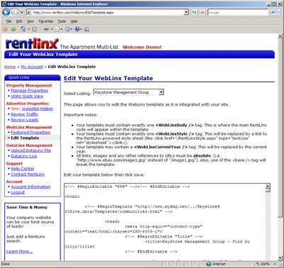 Edit WebLinx Template Screen Shot