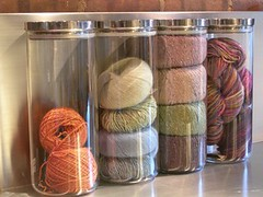 Glass jars of yarn