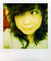 curly again (Jersey Yen) Tags: new selfportrait home me wednesday hair polaroid curly jersey earphones changed myeverydaylife sx70sonar withoutndfilter