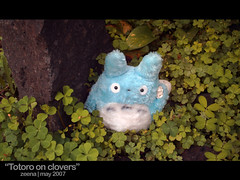totoro on clovers (zna) Tags: stuffedtoy anime flower garden toy totoro peanut ghibli
