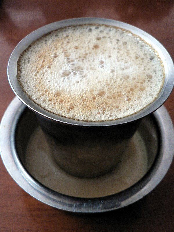 bru coffee with fresh cow's milk