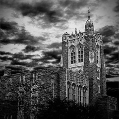 Dark Skies in Princeton (Brian Auer) Tags: old blackandwhite bw white storm black cold building brick college monochrome weather architecture clouds dark campus outside blackwhite newjersey university outdoor sinister bricks nj princeton grayscale colorless looming loom