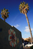 between the palms (storm light) Tags: california trees flower building art car sunshine wall painting palms mural bluesky canonrebelxti mexicanfanpalms