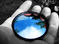 Hold on to that Gorgeous Sky (evaxebra) Tags: sky cloud tree dave mirror eva hand air small assignment wideangle class ewa selectivecolor cwd blueribbonwinner xebra supershot dave2 takeaclasswithdavedave tcwdd evaxebra pruska cwd142 cwdweek14 skyassignment ewapruska