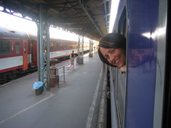 Sheri on the train to Krakow