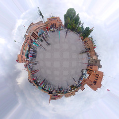 Djeema el-Fna square in Marrakesh (Becem) Tags: sky clouds square place morocco sphere maroc planet marrakech mosquee marrakesh effect planete fna wali djema elfna becem