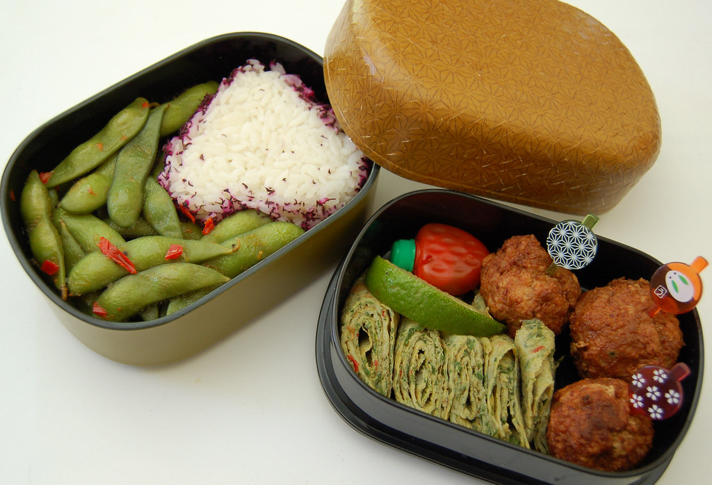 Meatball and omelette bento