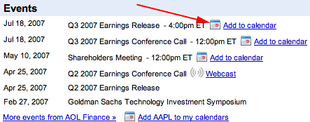 Google Finance with Google Calendar Link