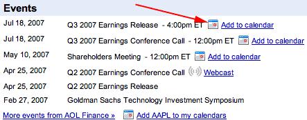 Google Finance with Google Calendar Link