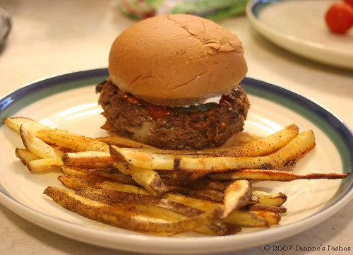Stuffed Mushroom and Cheddar Burger with Cajun Oven Fries