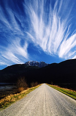 Wispy Clouds (justb) Tags: road blue sky cloud mountain lake mountains clouds bc grant pitt wispy narrows naturesfinest blueribbonwinner colorphotoaward