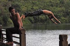 Dive (Mark Schraeger) Tags: sea shirtless lake water canon asian asia cambodia southeastasia candid dive crater topless stopmotion canonpowershots60 ratanakiri
