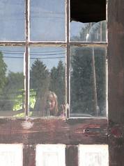 Day 141 Framed and Broken (S Pipczynski) Tags: door selfportrait reflection window brokenglass hiding badday day141 disappear panasoniclumixdmcfz20 meandmycamera project365 dirtyglass sandrapipczynski