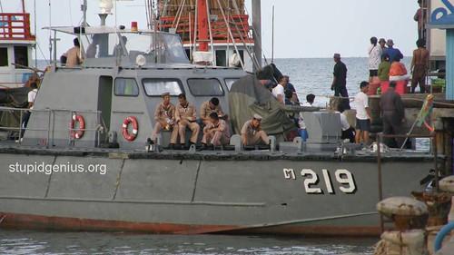 Naval ship and marines