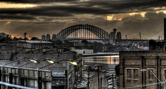 Harbour Bridge from Victoria Road 1 (alexkess) Tags: street bridge urban white cars clouds sunrise buildings bay nikon cityscape harbour sydney australia nsw cbd d200 hdr balmain lightroom photomatix 5xp