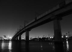 Harumi (MEG/TYO) Tags: koto tatsumi tokyo japan xz10 olympus blackandwhite bw night light sea bridge