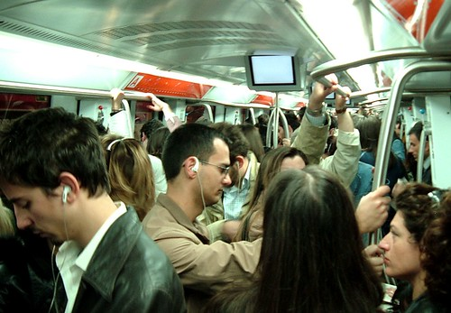 Crowded subway car in Rome