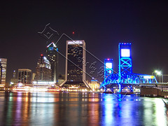 Downtown Jacksonville Florida (Barry L. Atkins) Tags: city longexposure nightphotography bridge blue sky color building green me water colors beautiful beauty skyline buildings river gold town interestingness cool nice interesting colorful downtown cityscape forsale florida colorfull awesome stock bridges stjohns line awsome business just barry jacksonville atkins nightphoto lovely interest ask stjohnsriver jacksonvilleflorida instantfave changeeverything saintjohnsriver 250l1 barryatkins barrylatkins barryla